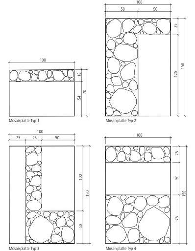 Formate und Masse Strada Mosaikplatten